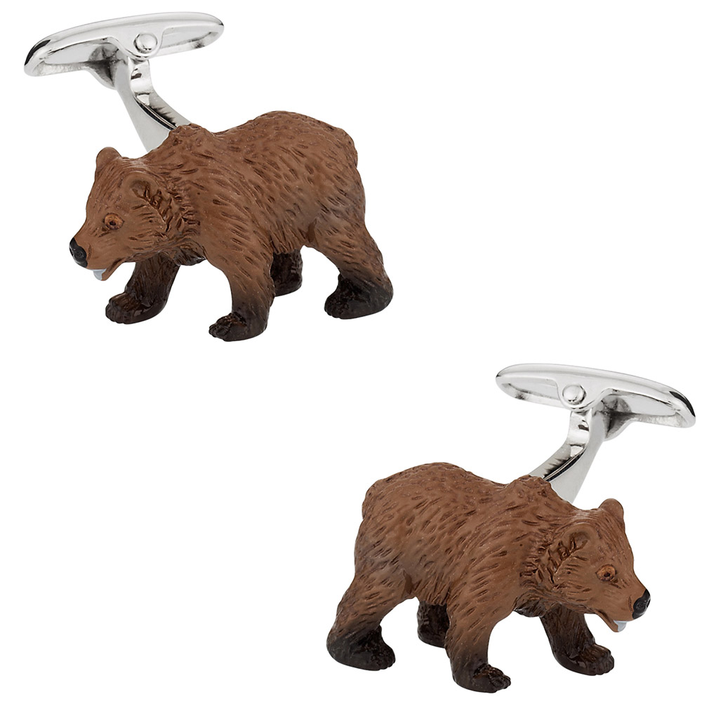 Painted Bear Cufflinks Swarovski