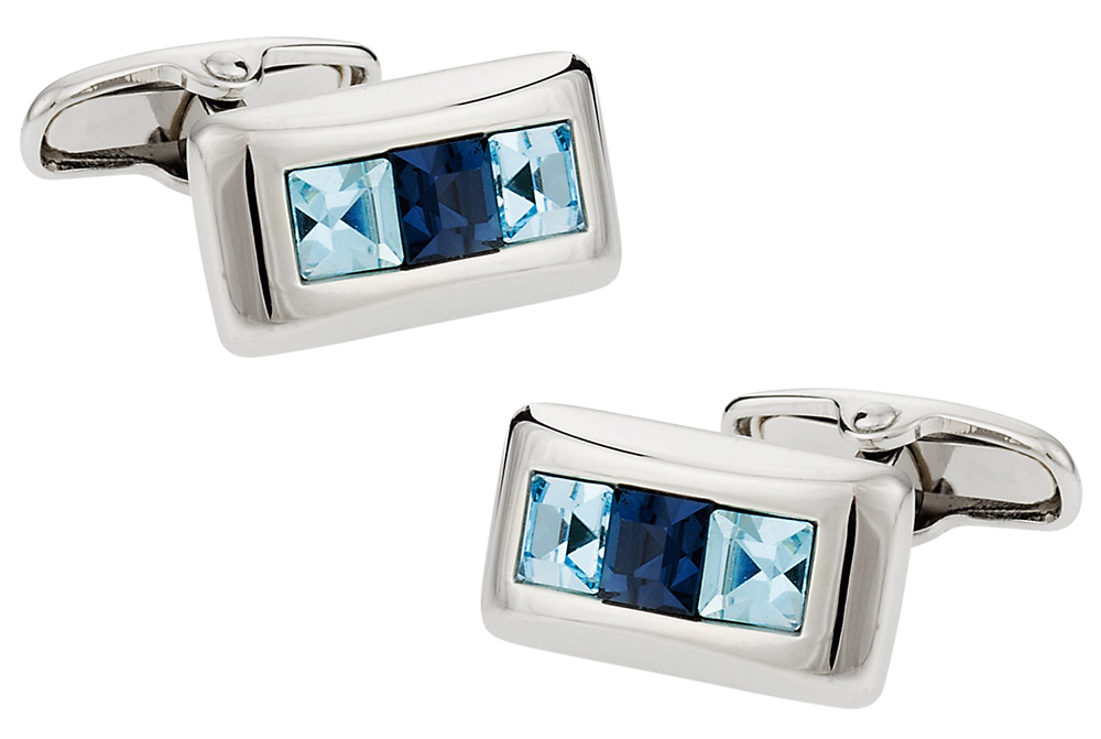 Michael Soho Design Crystal Cufflinks in Blue