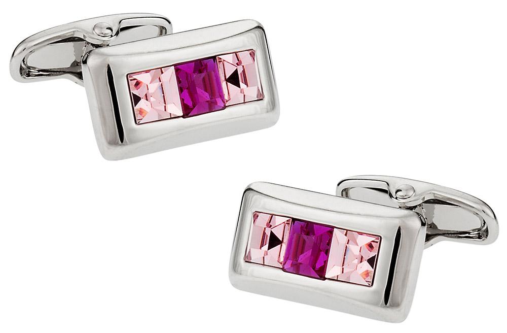 Michael Soho Design Crystal Cufflinks in Pink