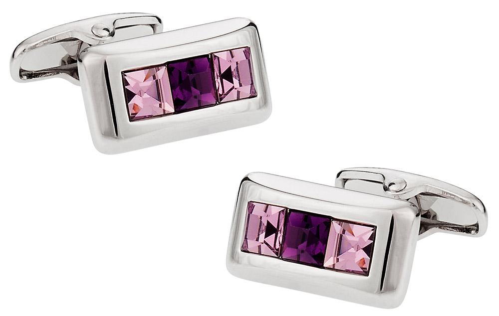 Michael Soho Design Crystal Cufflinks in Purple