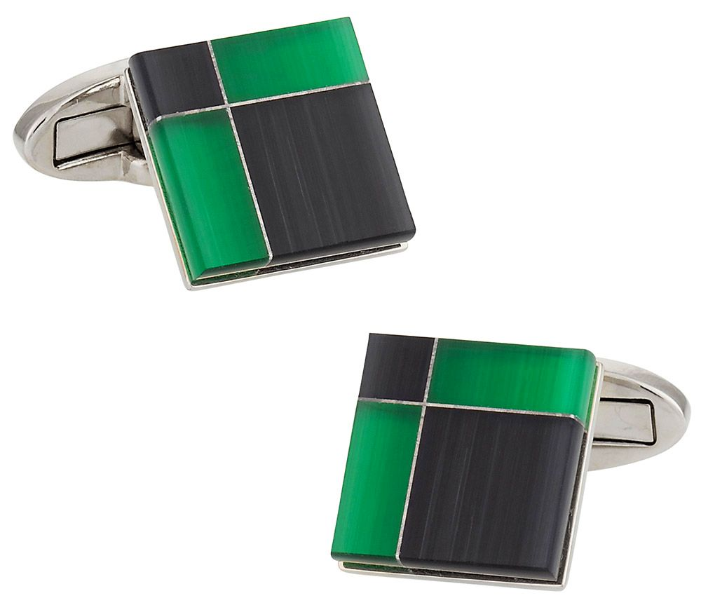 Black and Green Glass Cufflinks