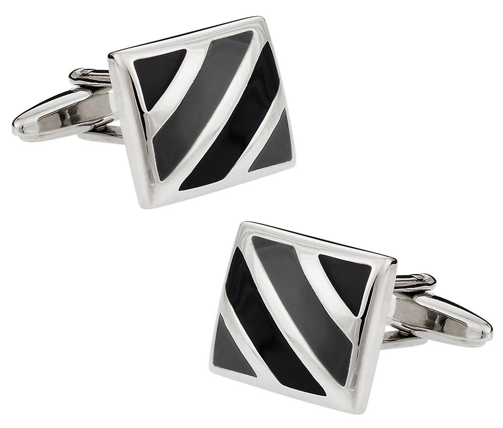 Black Gray Enamel Cufflinks