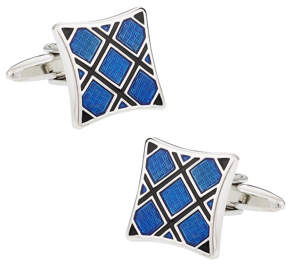 Blue Plaid Silver Cufflinks