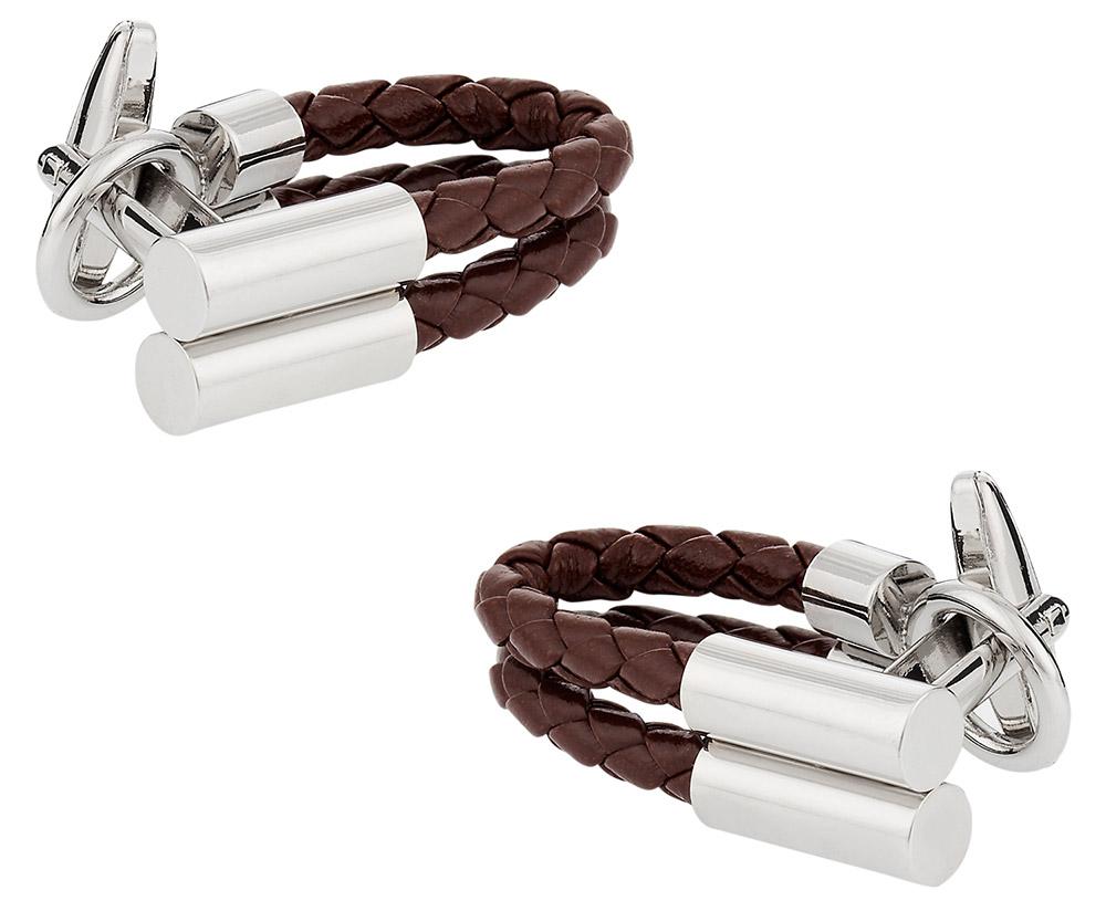 Brown Leather Wrap Around Cufflinks
