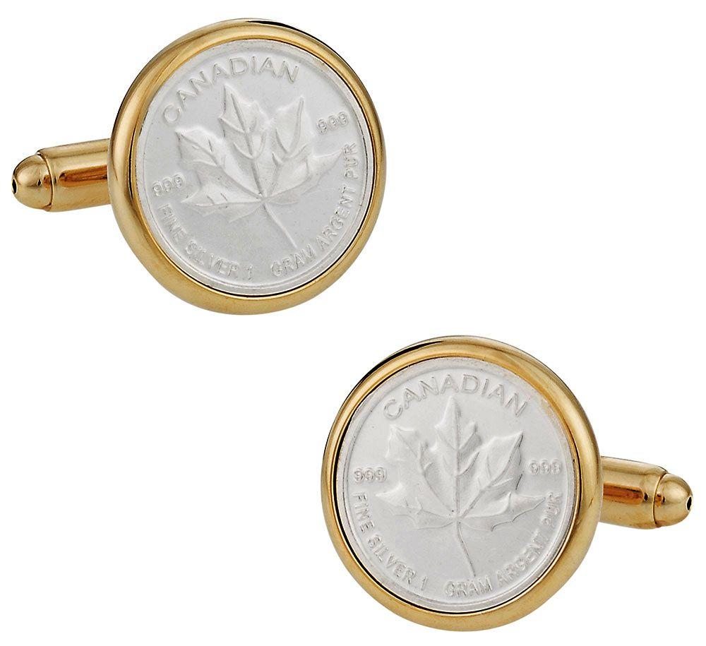 Canadian Maple Leaf Silver Bullion Cufflinks | Canada Cufflinks