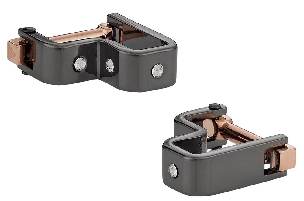 Crystal Step Gun Metal Cufflinks