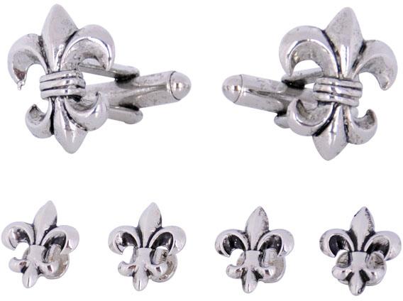 Fleur De Lis Cufflinks and Studs in Antique Silver
