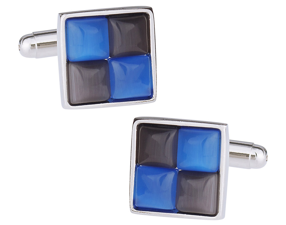 Gray & Blue Cufflinks
