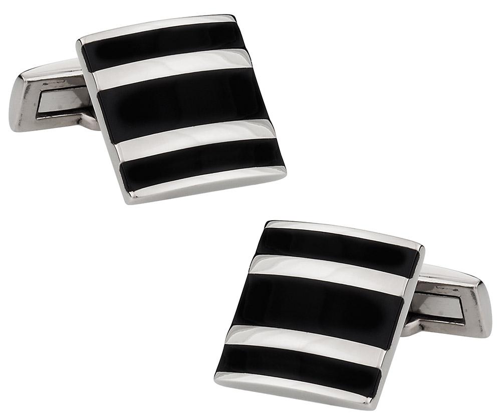 Titanium and Black Enamel Cufflinks