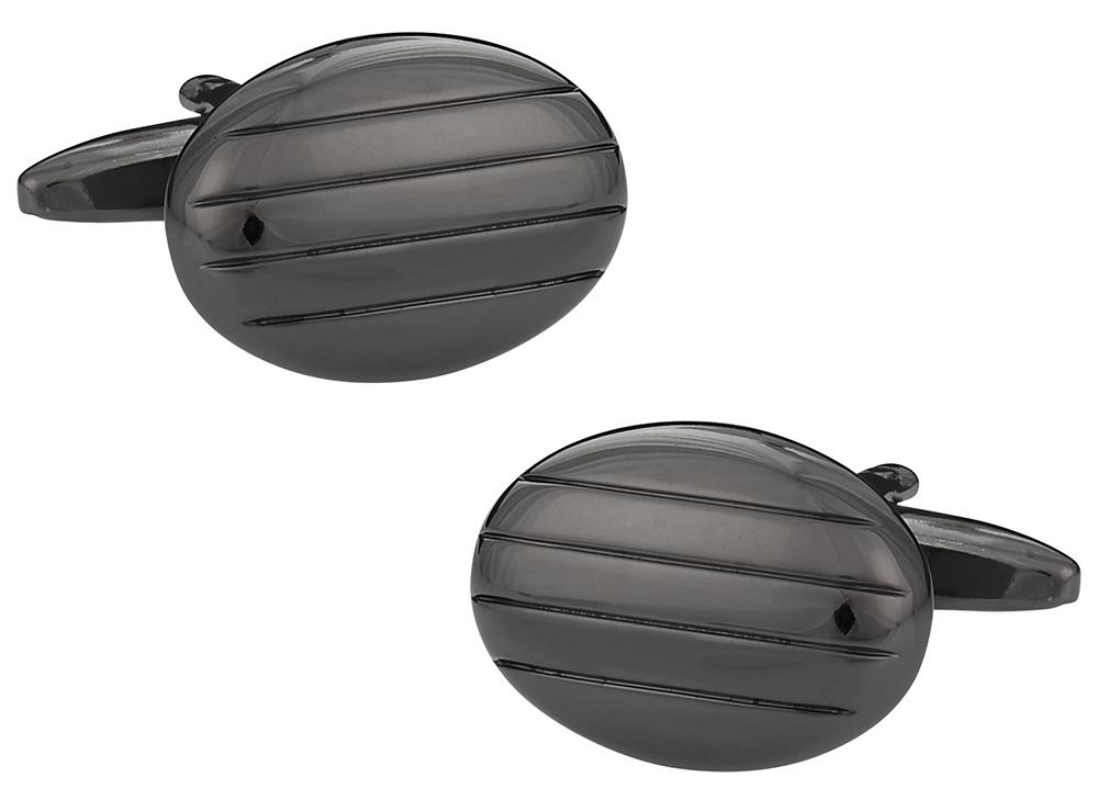 Gun Metal Cufflinks in Oval Stripes