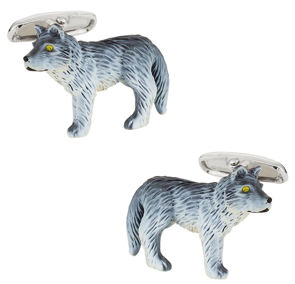 Howling Wolf Painted Cufflinks
