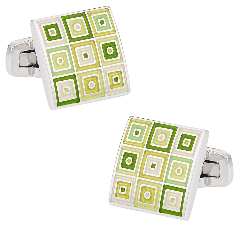 Quilted Cufflinks in Green | Canada Cufflinks