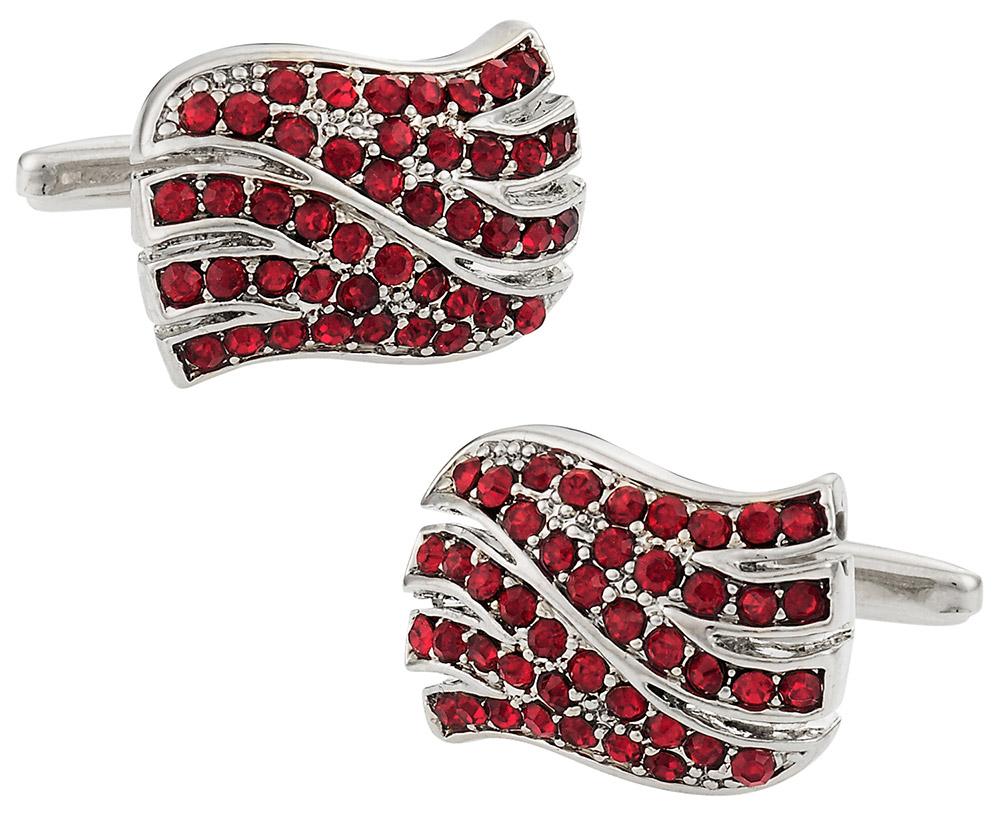 Red Wavy Cufflinks