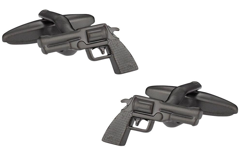 Revolver Cufflinks in Gun Metal