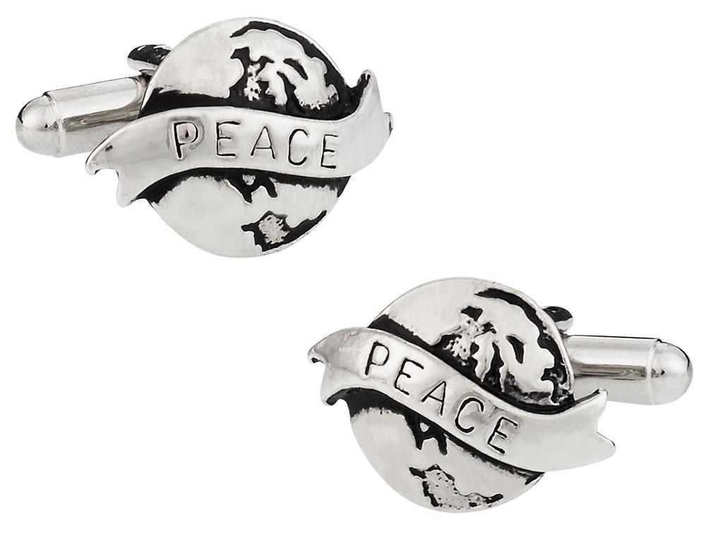 World Peace Cufflinks in Silver