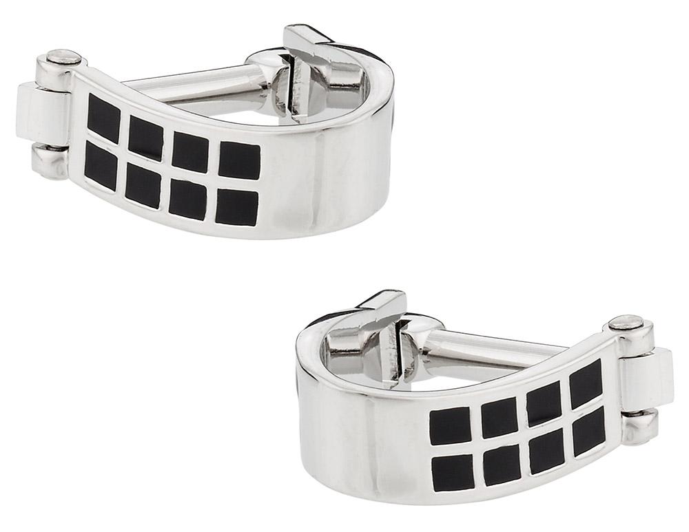 Silver Black Wrap Around Cufflinks   Canada Cufflinks