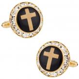 Christian Cross Crystal Cufflinks
