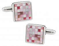 Pink Mother Of Pearl Mosaic Cufflinks