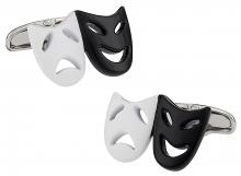 Drama Mask Cufflinks in Black White