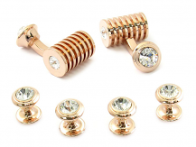 Rose Gold Clear Swarovski Barrel Formal Set | Canada Cufflinks