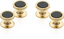 Onyx Studs in Gold Tone | Canada Cufflinks