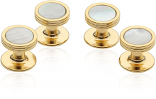 Mother of Pearl Studs in Gold Tone | Canada Cufflinks
