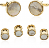 Ribbed Mother of Pearl Gold Tuxedo Cufflinks & Studs | Canada Cufflinks