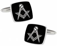 Silver Black Masonic Cufflinks