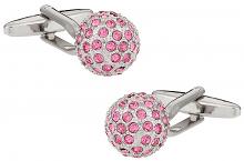 Crystal Pink Ball Cufflinks
