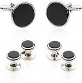 Tuxedo Cufflinks and Studs - Black Onyx with Silver Tone | Canada Cufflinks