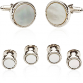 Ribbed Mother of Pearl Silver Tuxedo Cufflinks & Studs | Canada Cufflinks
