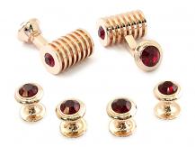 Rose Gold Ruby Red Swarovski Barrel Formal Set | Canada Cufflinks