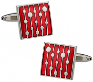 Red Enamel Cufflinks with Water Drop Design