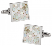 Honeycomb Cufflinks in Mother of Pearl