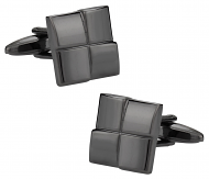 Four Piece Square Gun Metal Cufflinks