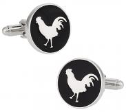 Round Rooster Cock Cufflinks