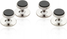 Onyx Studs in Silver Tone | Canada Cufflinks