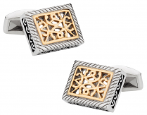 Ornate Two-Tone Stainless Steel Cufflinks | Canada Cufflinks
