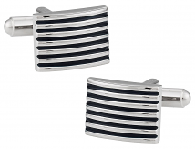 Ribbed Black Cufflinks