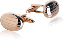 Rose Gold Cufflinks in Oval Stripes