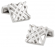 Hollow Check Design Silver Cufflinks | Canada Cufflinks