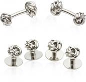 Silvertone Knot Cufflinks & Studs