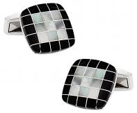 Black White Precious Grid Cufflinks | Canada Cufflinks