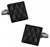 Quilted Metallic Black Cufflinks
