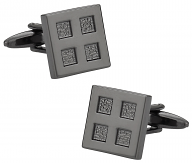 Gun Metal Cufflinks with 4 Squares.
