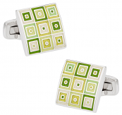Quilted Cufflinks in Green | Canada Cufflinks