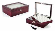 Mahogany 72 Pair Deluxe Cufflinks Box