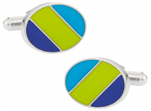 Green Blue Striped Oval Cufflinks
