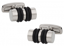 Titanium Cufflinks with Banded Rubber