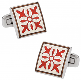 Rich Red White Enamel Cufflinks | Canada Cufflinks